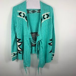 Beautiful and uniquely printed  blue cardigan